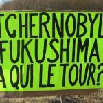 Action rond point Méximieux STOP BUGEY - 21 février 2012 - Tchernobyl Fukushima à qui le tour ?